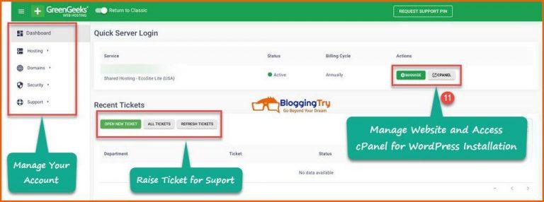 GreenGeeks Account Dashboard