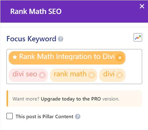Divi Rank Math Focus Keywords