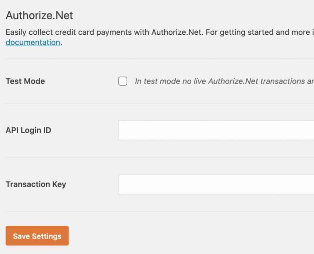 Authorize Net addon settings for WPForms