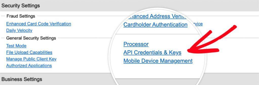 Authorize.net API Credentials Page