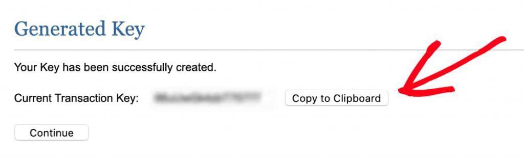 Copy Authorize.net Transaction Key