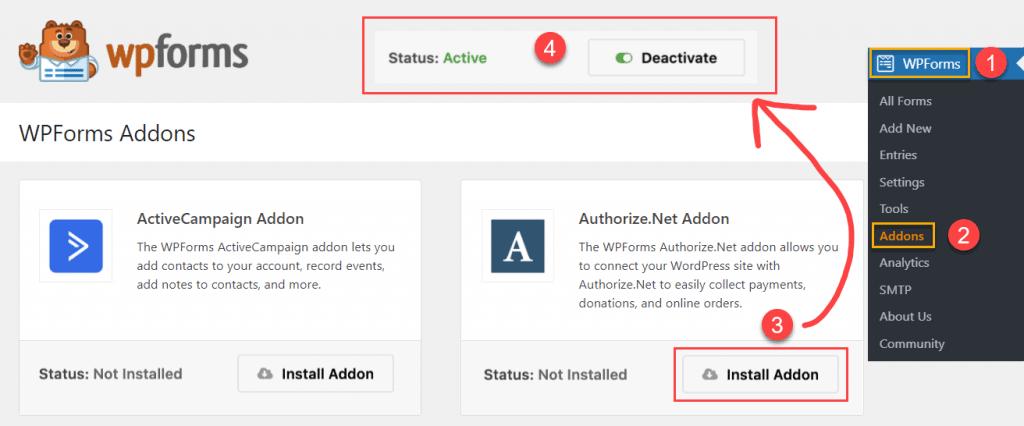 Installing Authorize.net Addon