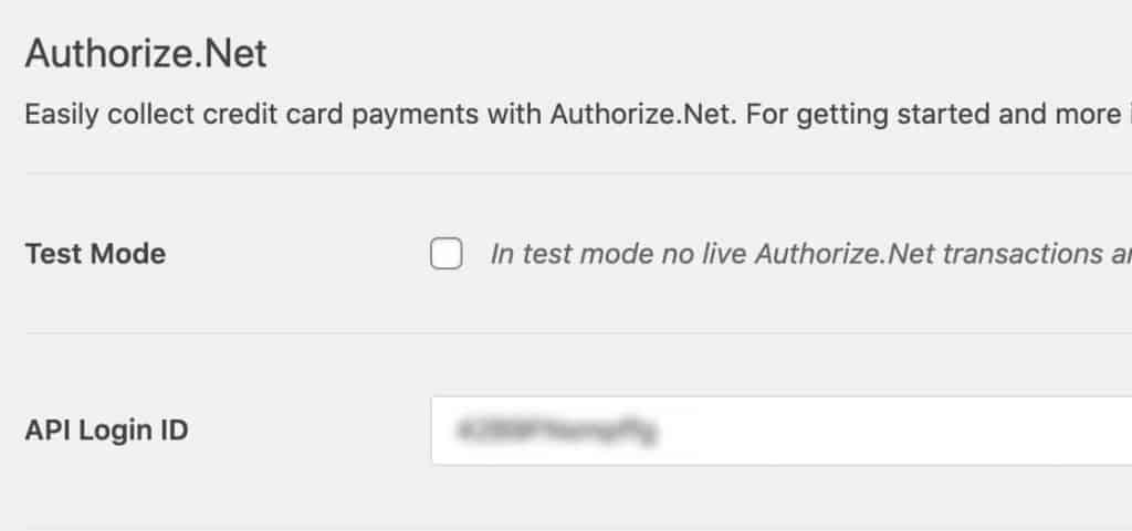 Paste Authorize.net API Login ID into WPForms settings