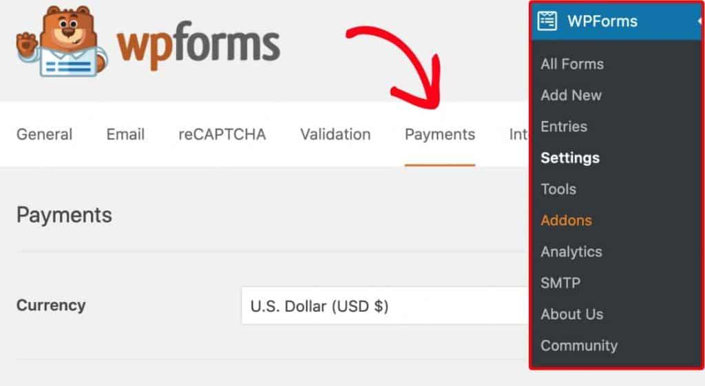 WPForms Payment Tab