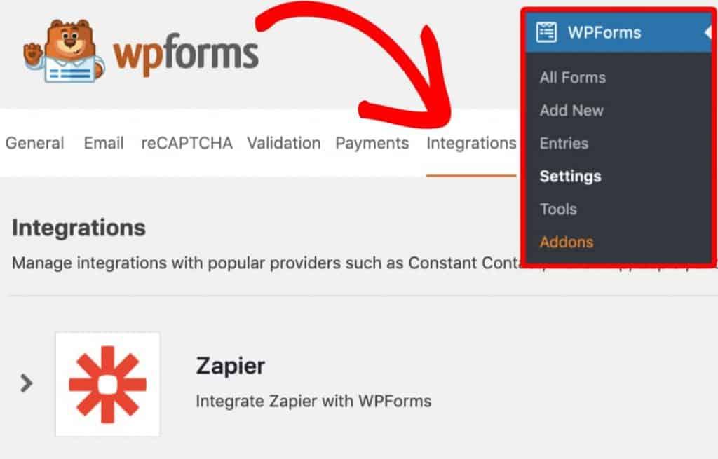 WPForms-integration settings