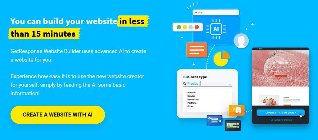 GetResponse AI Powered Website Builder