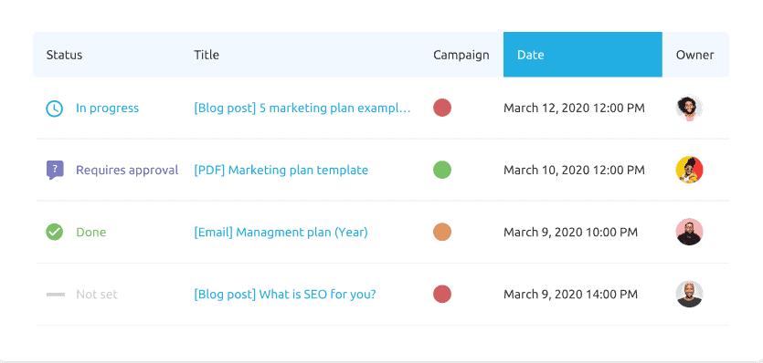 Marketing Calendar Work Progress