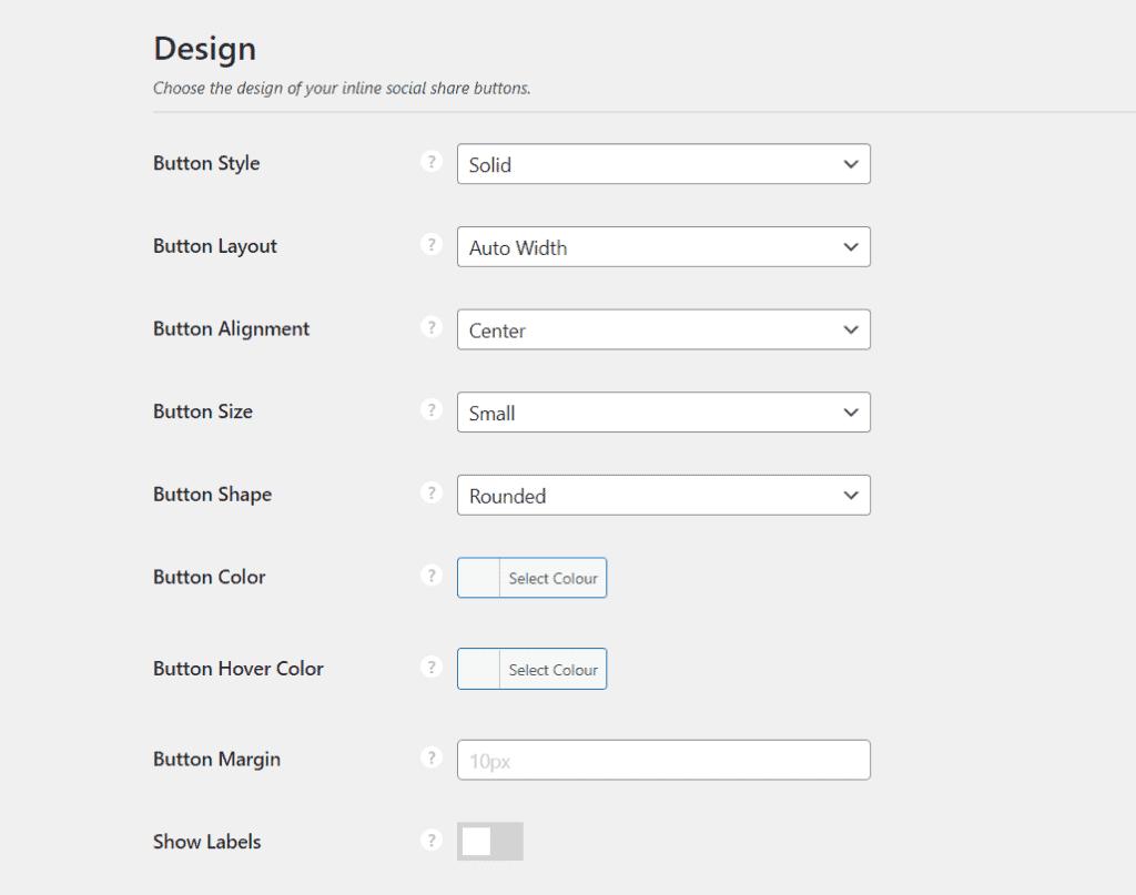 Inline Tab Design Settings
